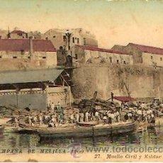 Postales: POSTAL CAMPAÑA DE MELILLA 1909 MUELLE CIVIL Y MILITAR . Lote 12699648