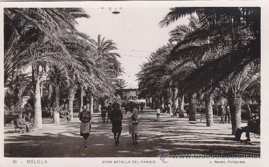 OTRO DETALLE DEL PARQUE: MELILLA: BONITA POSTAL SIN USAR Nº 38 L. ROISIN FOTOGRAFO. (Postales - España - Melilla Antigua (hasta 1939))
