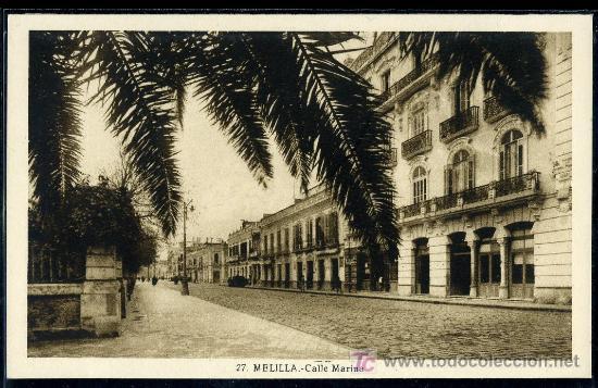 TARJETA POSTAL DE MELILLA Nº 27. CALLE MARINA. FOTO L. ROISIN (Postales - España - Melilla Antigua (hasta 1939))