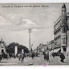 Postales: TARJETA POSTAL DE MELILLA. ENTRADA AL PARQUE Y CALLE DEL GENERAL MARINA. EDICION BOIX HERMANOS. Lote 17734981