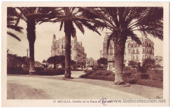 MELILLA: DETALLE DE LA PLAZA DE ESPAÑA. L. ROISIN. NO CIRCULADA (AÑOS 30) (Postales - España - Melilla Antigua (hasta 1939))