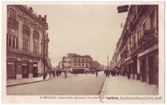 MELILLA: CALLES PABLO IGLESIAS Y AVENIDA DE LA REPÚBLICA. L. ROISIN. NO CIRCULADA (AÑOS 30) (Postales - España - Melilla Antigua (hasta 1939))