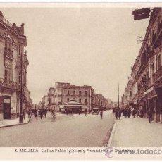 Postales: MELILLA: CALLES PABLO IGLESIAS Y AVENIDA DE LA REPÚBLICA. L. ROISIN. NO CIRCULADA (AÑOS 30). Lote 26841219