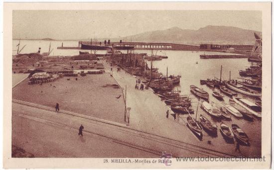 MELILLA: MUELLES DE RIBERA. L. ROISIN. NO CIRCULADA (AÑOS 30) (Postales - España - Melilla Antigua (hasta 1939))
