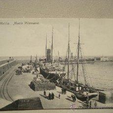 Postales: POSTAL ANTIGUA MELILLA MUELLE VILLANUEVA.. Lote 25474932