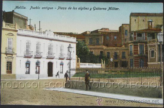 POSTAL MELILLA PUEBLO ANTIGUO PLAZA ALGIBES GOBIERNO MILITAR . BOIX HERMANOS CA AÑO 1920. (Postales - España - Melilla Antigua (hasta 1939))