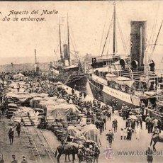 Postales: MELILLA - ASPECTO DEL MUELLE EN UN DÍA DE EMBARQUE -.. Lote 22954187
