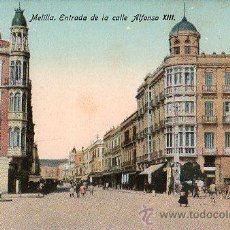 Postales: TARJETA POSTAL DE MELILLA. ENTRADA DE LA CALLE ALFONSO XIII.. Lote 23716365