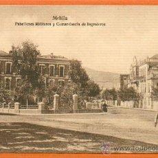 Postales: MELILLA PABELLONES MILITARES Y COMANDANCIA DE INGENIEROS Nº 136 REVERSO DIVIDIDO SIN CIRCULAR . Lote 26468269