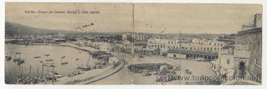 MELILLA PASEO DEL GENERAL MACIAS Y VISTA PARCIAL PHOTO ALBERT Nº 10 POSTAL ANTIGUA (Postales - España - Melilla Antigua (hasta 1939))