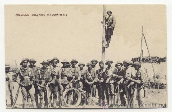MELILLA SOLDADOS TELEGRAFISTAS POSTAL ANTIGUA (Postales - España - Melilla Antigua (hasta 1939))