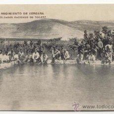 Postales: MELILLA REGIMIENTO DE VERGARA GRUPO DE SOLDADOS HACIENDO SU TOILETE. Lote 25275862