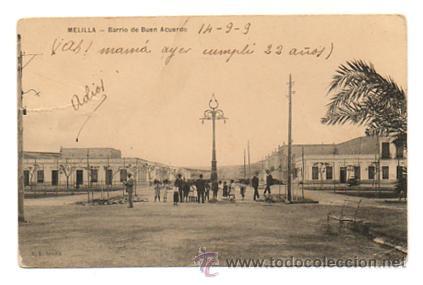 MELILLA. BARRIO DE BUEN ACUERDO. CIRCULADA 14/9/1909 (Postales - España - Melilla Antigua (hasta 1939))