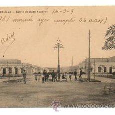 Postales: MELILLA. BARRIO DE BUEN ACUERDO. CIRCULADA 14/9/1909. Lote 28829646