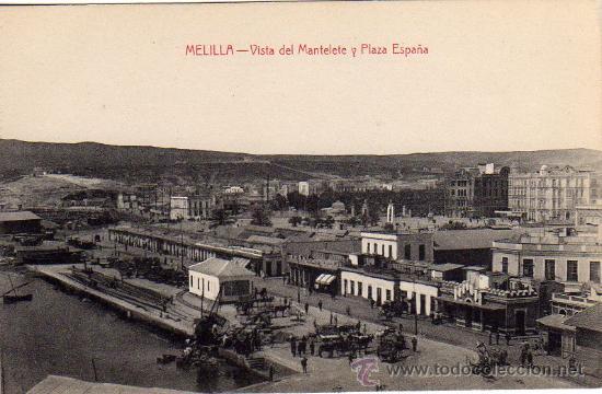 MELILLA.- VISTA DEL MANTELETE Y PLAZA DE ESPAÑA.- EDICIÓN LUIS HERRERA.- (Postales - España - Melilla Antigua (hasta 1939))
