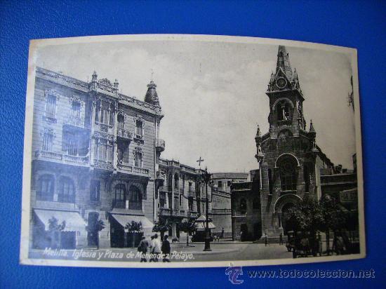 POSTAL FOTOGRAFICA CIRCULADA DE MELILLA,IGLESIA Y PLAZA DE MENENDEZ PELAYO. (Postales - España - Melilla Antigua (hasta 1939))