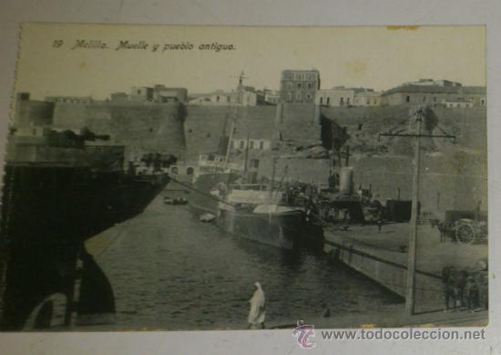 ANTIGUA POSTAL DE MELILLA - N. 19 - MUELLE Y PUEBLO ANTIGUO - EDICION. BOIX HERMANOS (Postales - España - Melilla Antigua (hasta 1939))
