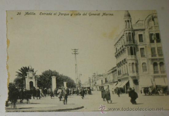 ANTIGUA POSTAL DE MELILLA - N. 20 - ENTRADA PARQUE Y C/ DEL GENERAL MARINA - EDICION. BOIX HERMANOS (Postales - España - Melilla Antigua (hasta 1939))