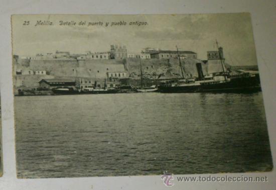 ANTIGUA POSTAL DE MELILLA - N. 25-DETALLE DEL PUERTO Y PUEBLO ANTIGUO- EDICION. BOIX HERMANOS (Postales - España - Melilla Antigua (hasta 1939))