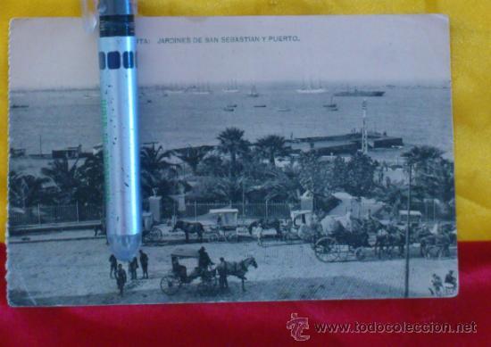 CEUTA ,JARDINES DE SAN SEBASTIAN Y PUERTO , FOTOTIPIA DE HAUSER Y MENET MADRID ,14X9 (Postales - España - Melilla Antigua (hasta 1939))