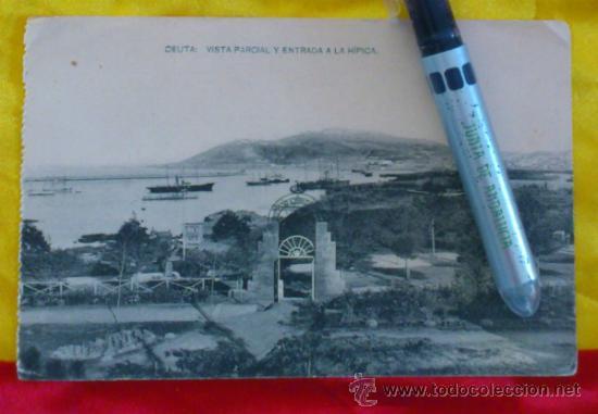 CEUTA ,VISTA PARCIAL Y ENTRADA A LA HIPICA , FOTOTIPIA DE HAUSER Y MENET MADRID ,14X9 (Postales - España - Melilla Antigua (hasta 1939))