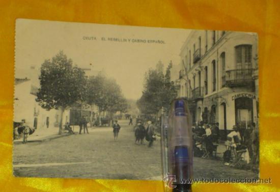 CEUTA ,EL REBELLIN Y CASINO ESPAÑOL , FOTOTIPIA DE HAUSER Y MENET MADRID ,14X9 (Postales - España - Melilla Antigua (hasta 1939))
