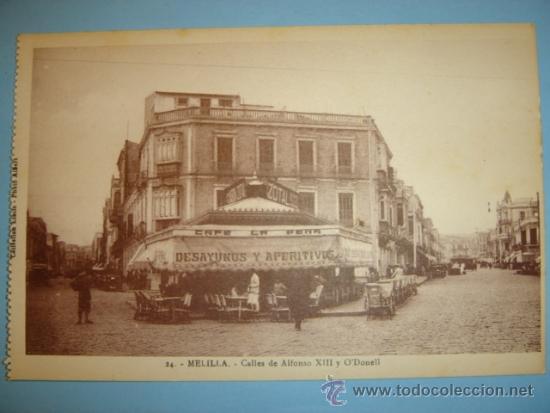 POSTAL MELILLA CALLES DE ALFONSO XIII Y O´DONELL (Postales - España - Melilla Antigua (hasta 1939))