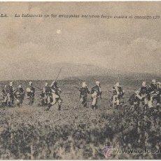 Postales: MELILLA.- LA INFANTERÍA EN LAS AVANZADAS HACIENDO FUEGO CONTRA EL ENEMIGO (27 DE JULIO DE 1911).. Lote 34865649