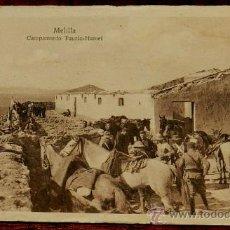 Postales: ANTIGUA POSTAL DE MELILLA, GUERRA DEL RIF, CAMPAMENTO TAURIA HAMET. Lote 36234115