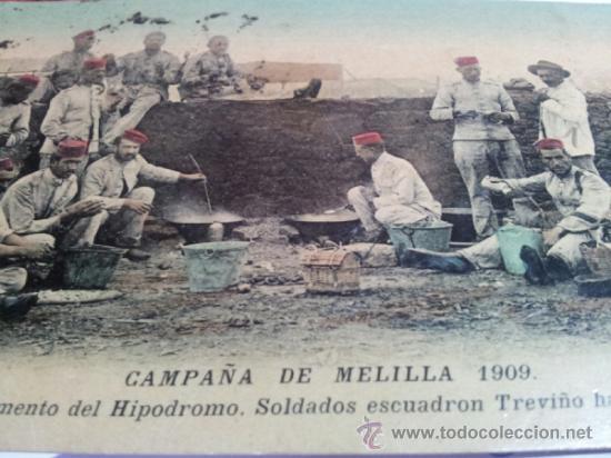 POSTAL CAMPAÑA MELILLA 1909 CAMPAMENTO HIPODROMO SOLDADOS ESCUADRON TREVIÑO HACIENDO EL RANCHO. (Postales - España - Melilla Antigua (hasta 1939))
