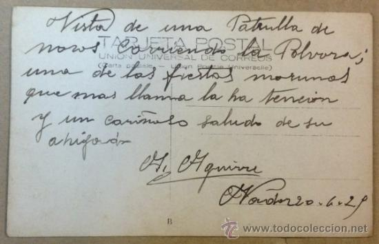 Postales: VISTA DE UNA PATRULLA DE MOROS CORRIENDO LA POLVORA, UNA FIESTA MORUNA. POSTAL FOTOGRÁFICA. - Foto 2 - 37803092