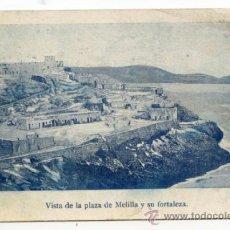 Postales: VISTA DE LA PLAZA DE MELILLA Y SU FORTALEZA. IMP. DE A. PÉREZ. LE FALTA EL SELLO (VER DORSO). Lote 37841950