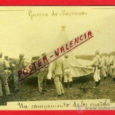 Postales: POSTAL MELILLA CAMPAMENTO DE LOS ESPAÑOLES ,FOTOGRAFICA , GUERRA DE MARRUECOS , ORIGINAL , P90329. Lote 40032327