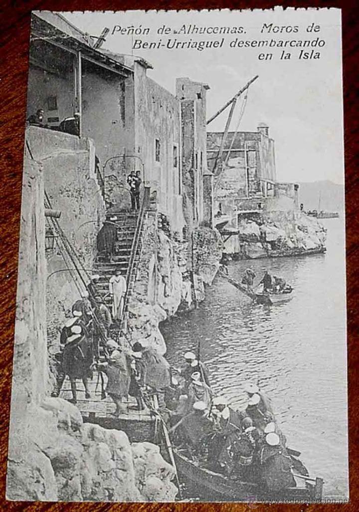 ANTIGUA POSTAL DE PEÑON DE ALHUCEMAS - MELILLA - MOROS DE BENI URRIAGUEL DESEMBARCANDO - ED. BOIX HE (Postales - España - Melilla Antigua (hasta 1939))