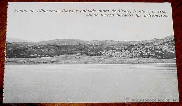 ANTIGUA POSTAL DE PEÑON DE ALHUCEMAS - MELILLA - PLAYA Y POBLADO MORO DE AIXDIR, FRENTE A LA ISLA, D (Postales - España - Melilla Antigua (hasta 1939))