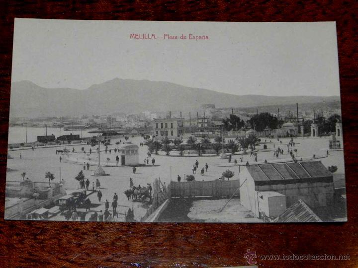 ANTIGUA POSTAL - MELILLA - PLAZA DE ESPAÑA - EDICION BOIX HERMANOS - SIN CIRCULAR (Postales - España - Melilla Antigua (hasta 1939))