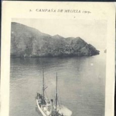 Postais: CAMPAÑA DE MELILLA 1909- EL VAPOR SEVILLA EN EL PEÑÓN. Lote 40500743