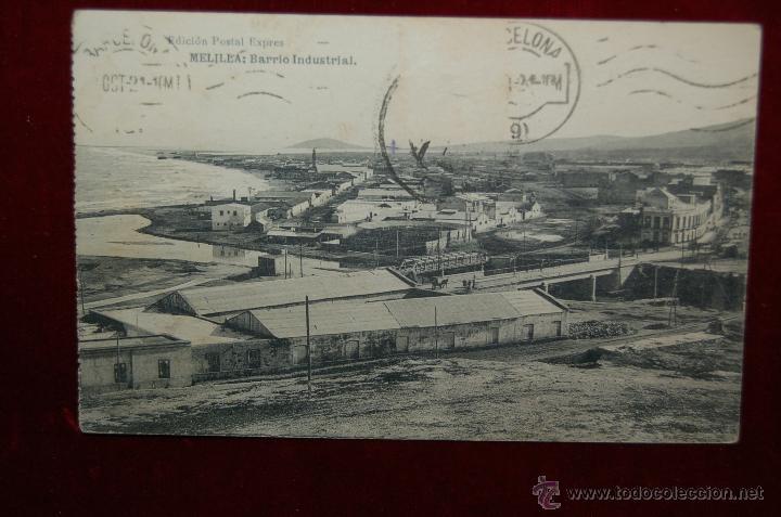 ANTIGUA POSTAL DE MELILLA. BARRIO INDUSTRIAL. EDICIÓN POSTAL EXPRES. CIRCULADA (Postales - España - Melilla Antigua (hasta 1939))