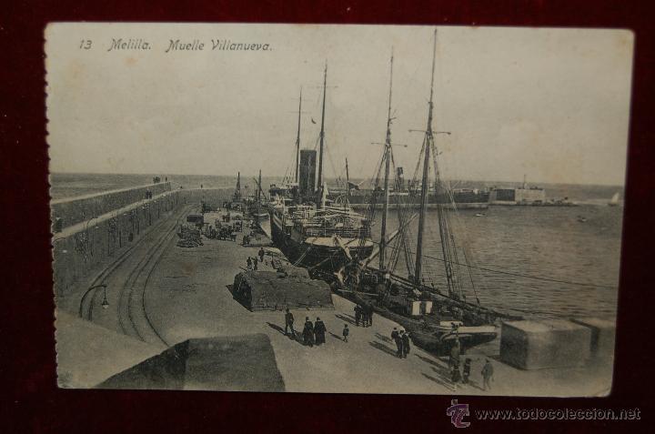ANTIGUA POSTAL DE MELILLA. MUELLE VILLANUEVA. SIN CIRCULAR (Postales - España - Melilla Antigua (hasta 1939))