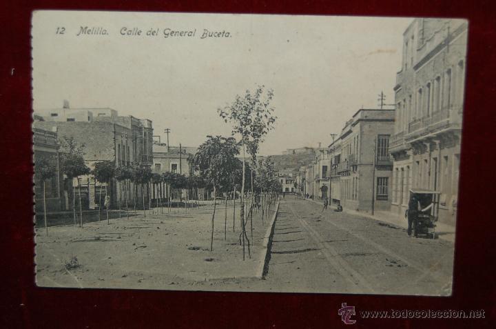 ANTIGUA POSTAL DE MELILLA. CALLE DEL GENERAL BUCETA. SIN CIRCULAR (Postales - España - Melilla Antigua (hasta 1939))