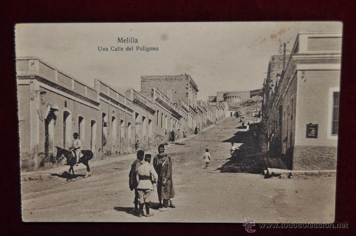 ANTIGUA POSTAL DE MELILLA. UNA CALLE DEL POLIGONO. ESCRITA (Postales - España - Melilla Antigua (hasta 1939))