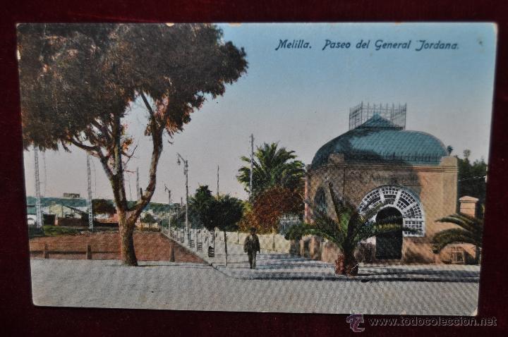 ANTIGUA POSTAL DE MELILLA. PASEO DEL GENERAL JORDANA. ESCRITA (Postales - España - Melilla Antigua (hasta 1939))