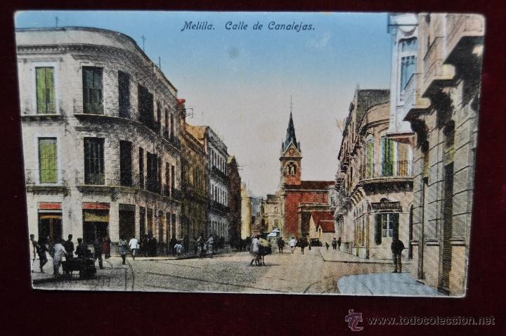 ANTIGUA POSTAL DE MELILLA. CALLE DE CANALEJAS. CIRCULADA (Postales - España - Melilla Antigua (hasta 1939))