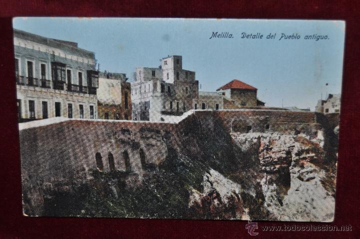 ANTIGUA POSTAL DE MELILLA. DETALLE DEL PUEBLO ANTIGUO. ESCRITA (Postales - España - Melilla Antigua (hasta 1939))