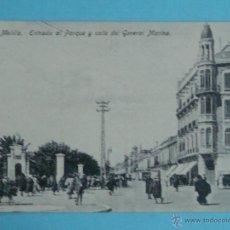 Postales: POSTAL DE MELILLA. AÑOS 10 20. ENTRADA AL PARQUE Y CALLE GENERAL MARINA. 20 BOIX. 1453. Lote 43740415