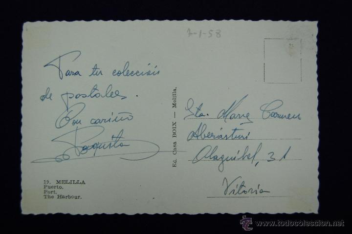 Postales: POSTAL DE MELILLA. Nº 19 PUERTO. EDIC CASA BOIX. AÑOS 50 - Foto 2 - 45124503