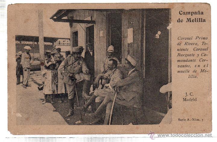TARJETA POSTAL DE MELILLA. J.C. MADRID. CORONEL PRIMO DE RIVERA. (Postales - España - Melilla Antigua (hasta 1939))