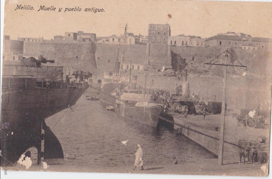 P- 1647. POSTAL DE MELILLA. MUELLE Y PUEBLO ANTIGUO. (Postales - España - Melilla Antigua (hasta 1939))