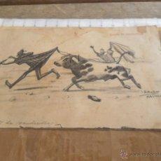 Postales: TARJETA POSTAL CIRCULADA CARICATURA SUERTE DE BANDERILLAS EDICIONES JOSEFA BOTELLA MELILLA . Lote 50188001