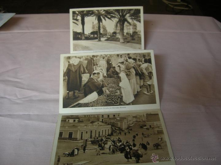 ABANICO CON SIETE ANTIGUAS POSTALES DE MELILLA (Postales - España - Melilla Antigua (hasta 1939))